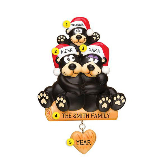 Black Bear Sitting on a Log Family of 3 Ornament for Christmas Tree