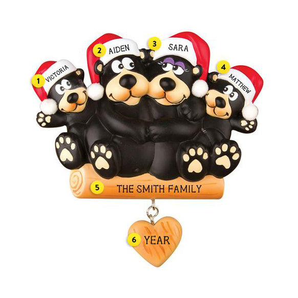 lack Bear Sitting on a Log Family of 4 Ornament for Christmas Tree