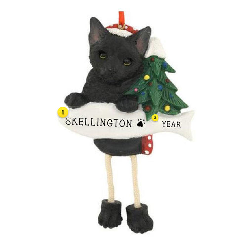 Black Cat Ornament for Christmas Tree Personalized