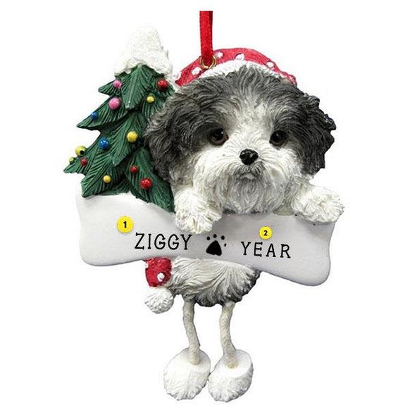 Shih Tzu Christmas Tree Ornament Black