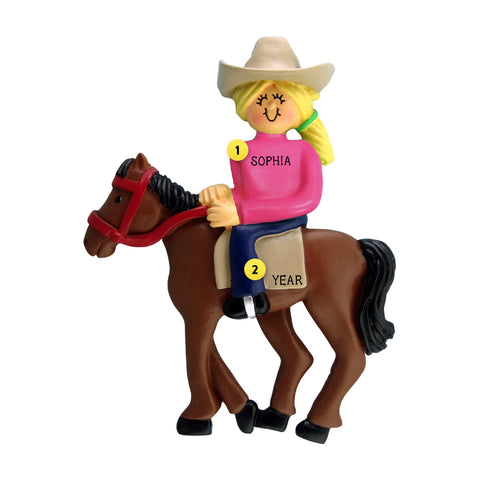 Horseback Riding Ornament - Female, Blond for Christmas Tree