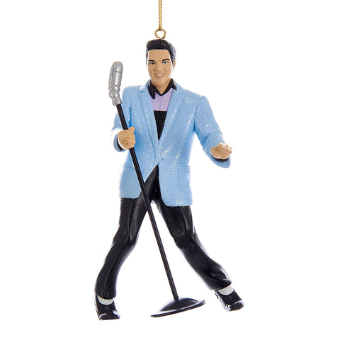 Blue-Suit Hound Dog Elvis Ornament for Christmas Tree