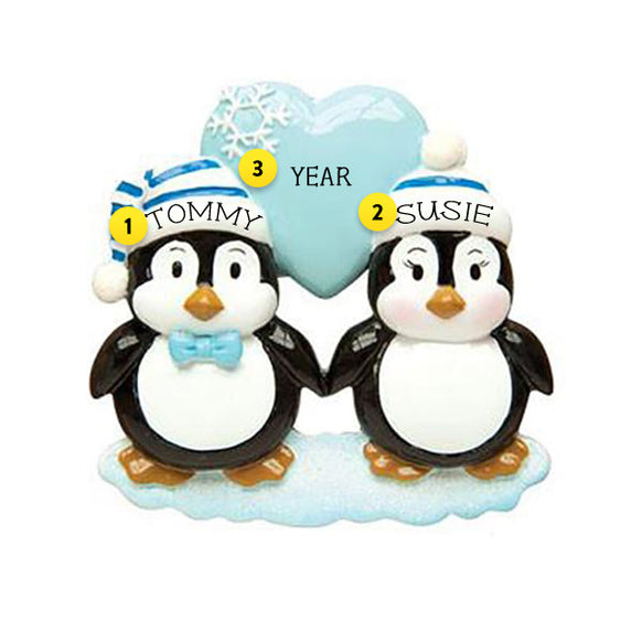 Penguin Couple with Blue Heart Christmas Ornament