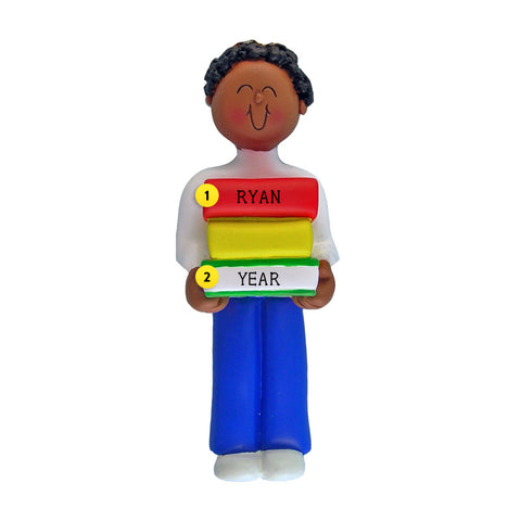 Book Reader Ornament - Black Male for Christmas Tree