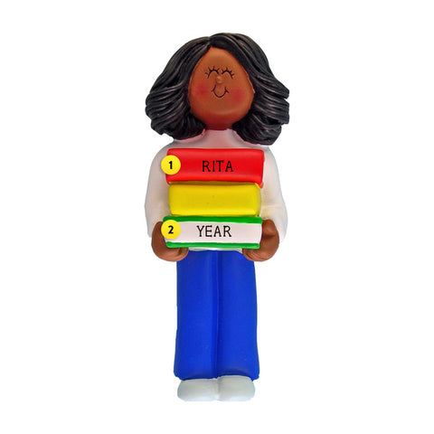 Book Reader Ornament - Black Female for Christmas Tree