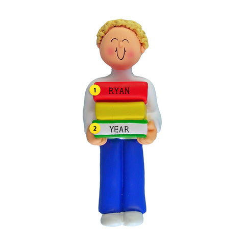 Book Reader Ornament - White Male, Blond Hair for Christmas Tree