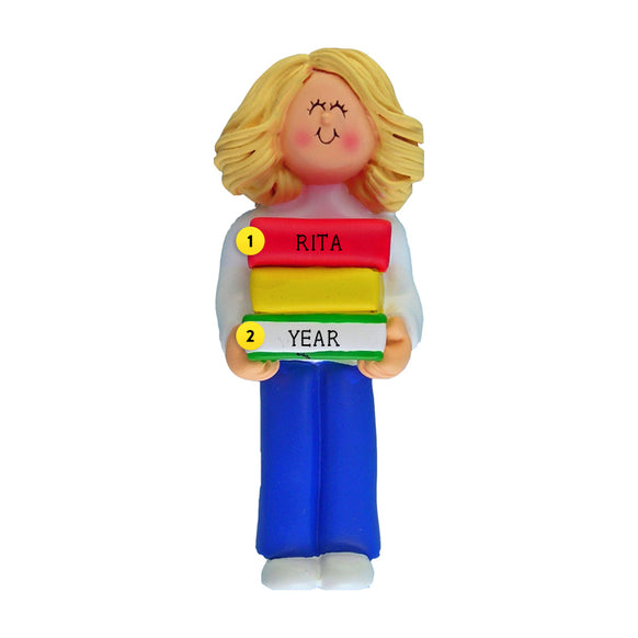 Book Reader Ornament - White Female, Blond Hair for Christmas Tree