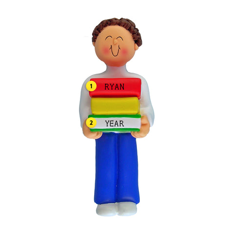 Book Reader Ornament - White Male, Brown Hair for Christmas Tree