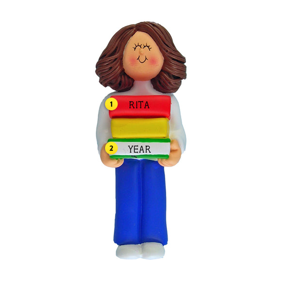 Book Reader Ornament - White Female, Brown Hair for Christmas Tree