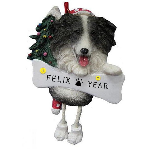 Border Collie Dog Ornament for Christmas Tree