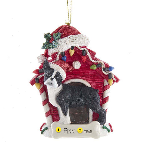 Boston Terrier in Dog House Christmas Tree Ornament