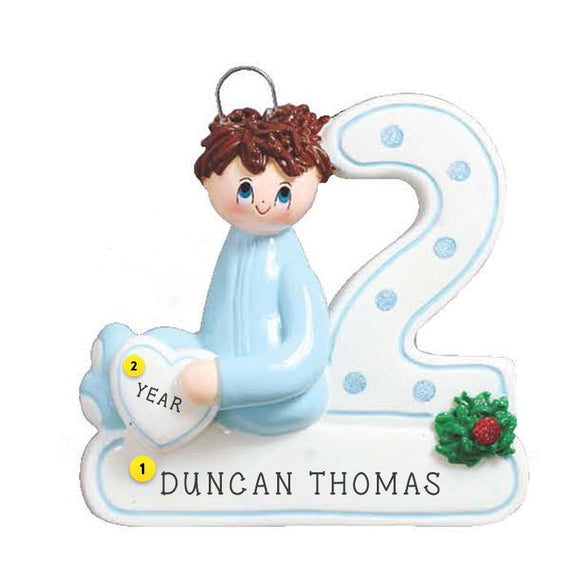 2nd Christmas Brunette Boy Christmas Ornament