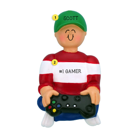 Boy Video Game Player Ornament for Christmas Tree