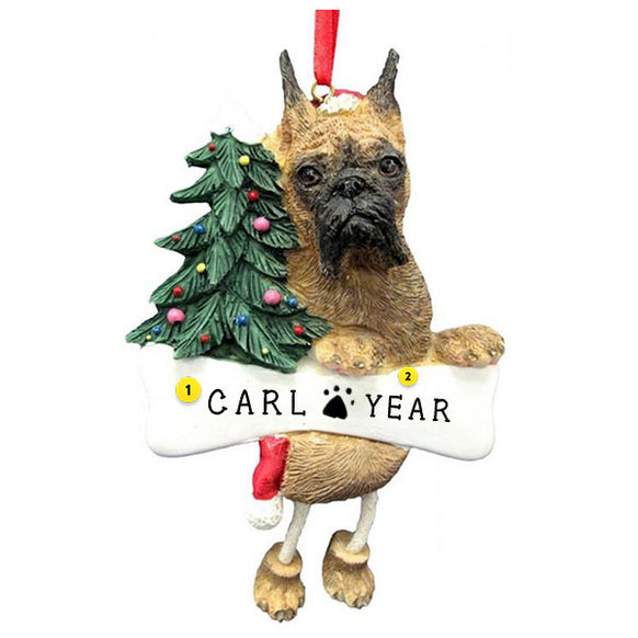 Brindle Boxer Cropped Dog Ornament for Christmas Tree