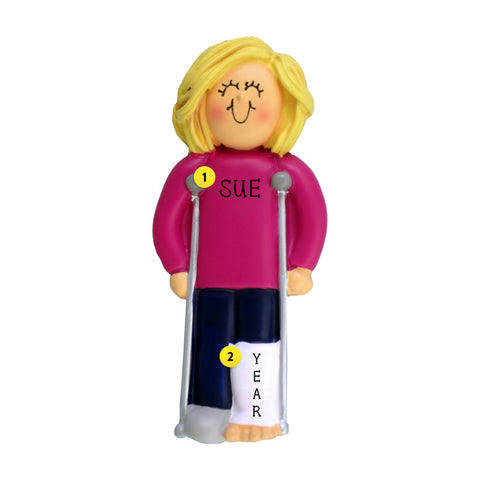 Broken Leg Ornament - Female, Blond Hair for Christmas Tree