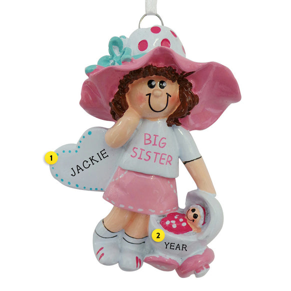 Big Sister with Baby Carriage Ornament - Brown Hair for Christmas Tree