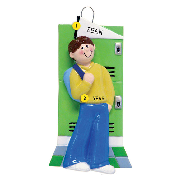Locker Ornament - Male, Brown Hair for Christmas Tree