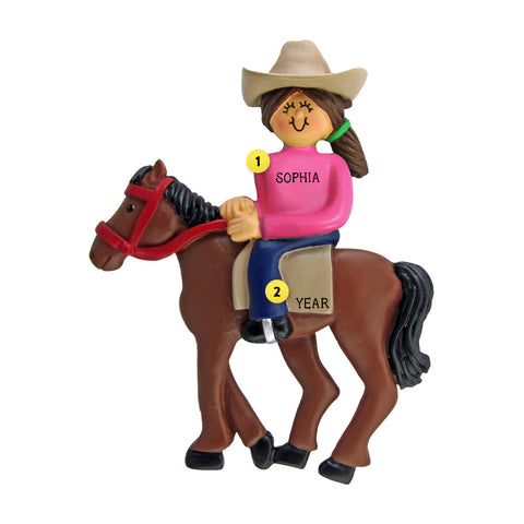 Horseback Riding Ornament - Female, Brown Hair for Christmas Tree