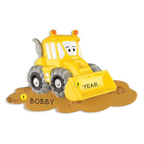 Bulldozer with Face Ornament for Christmas Tree