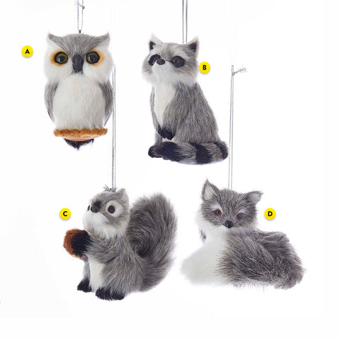 Furry Gray Woodland Animals 4 Assorted Ornaments - Please Select One