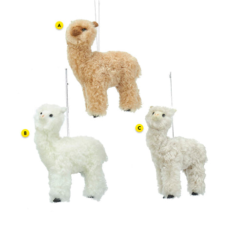Fuzzy Alpaca 3 Assorted Ornament For Christmas Tree