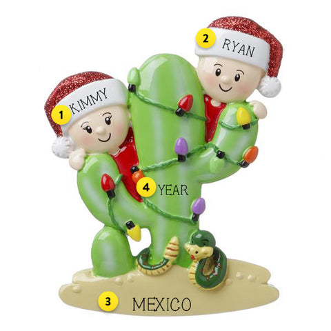 COUPLE ON A CACTUS ORNAMENT THAT HANGS ON THE TREE