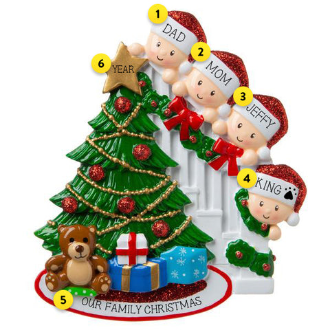 Christmas Morning Family of 4 Personalized Ornament For Tree