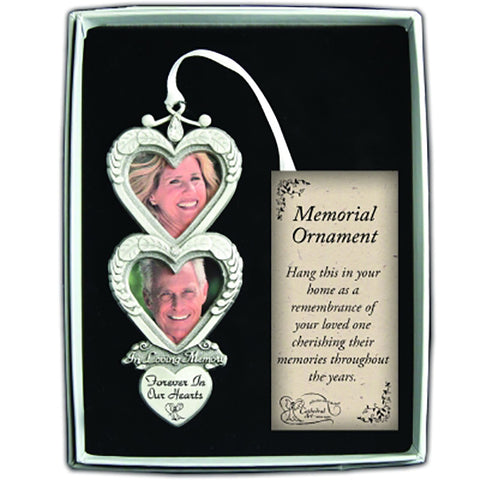 In Loving Memory Double Heart  Photo Frame Memorial Ornament