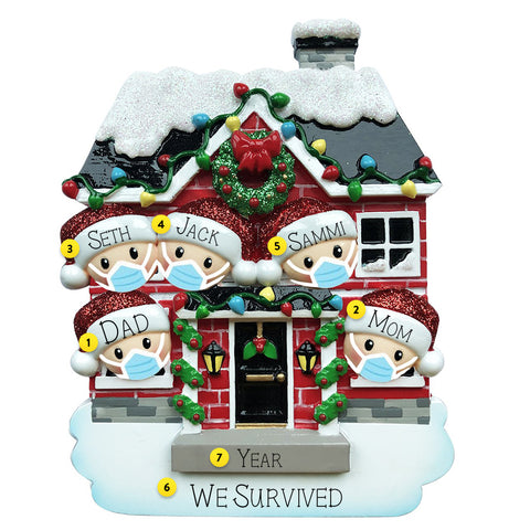 Quarantined at Home Family of 5 Ornament