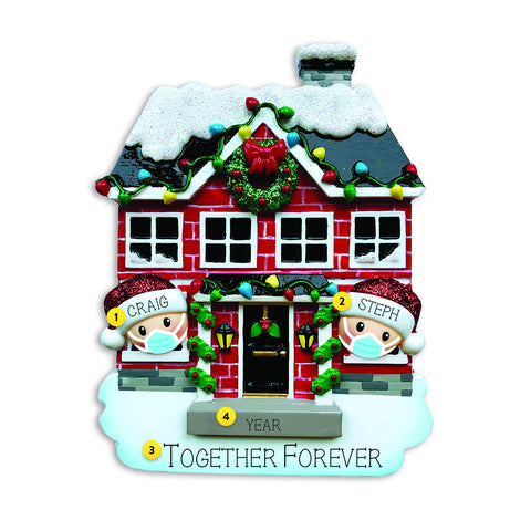 Covid 19 couple personalized Christmas ornament