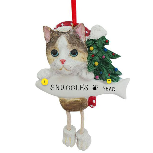 Calico Cat Ornament Personalized for Christmas Tree
