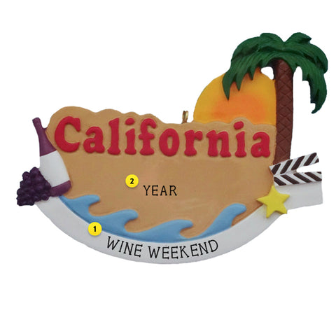 California Christmas Ornament with Wine, Palm Tree and Movie Clapboard