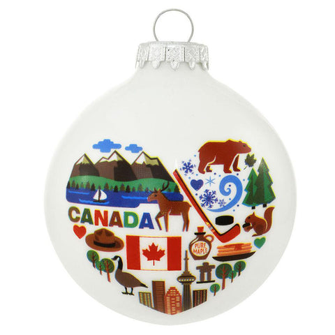 Canada Christmas Ornament with flag, bears, maple syrup and hockey Glass personalized