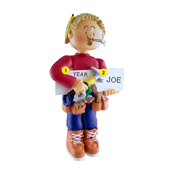 Carpenter Ornament - Male, Blond Hair for Christmas Tree