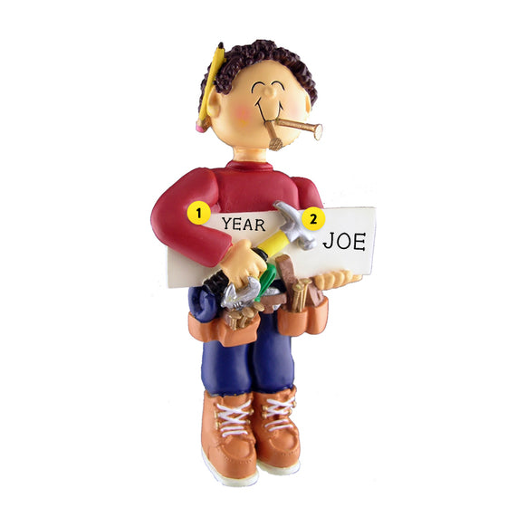 Carpenter Ornament - Male, Brown Hair for Christmas Tree