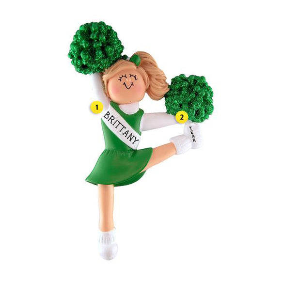 Cheerleader with Green Uniform Ornament - Female, Blond Hair