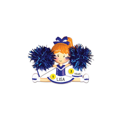 Cheerleader/Pom Ornament - Blue for Christmas Tree
