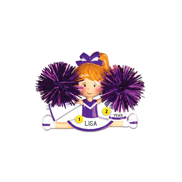 Cheerleader/Pom Ornament - Purple for Christmas Tree