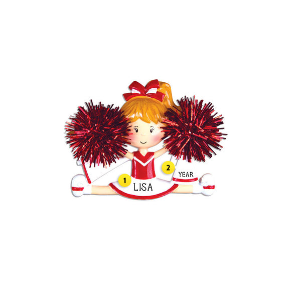 Cheerleader/Pom Ornament - Red for Christmas Tree