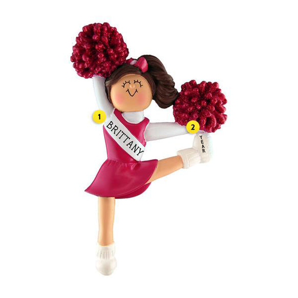 Cheerleader with Red Uniform Ornament - Female, Brown Hair