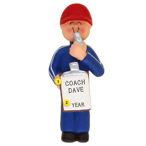 Coach with whistle and clipboard personalized resin ornament