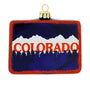 Colorado Mountain Scene with State Flag Blown Glass Christmas Ornament