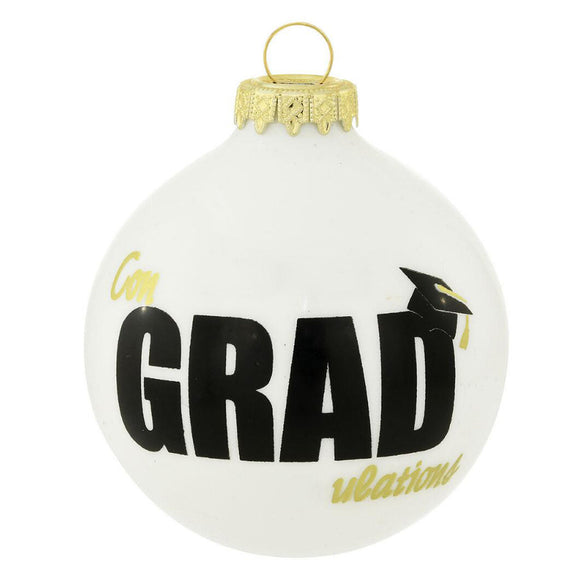 ConGRADulations Graduation Ornament Round glass Christmas ornament with the word GRAD topped with a graduation cap