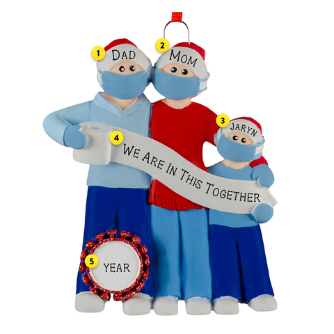Family of 3 Wearing Masks With Toilet Paper and Coronavirus germ Christmas Ornaments