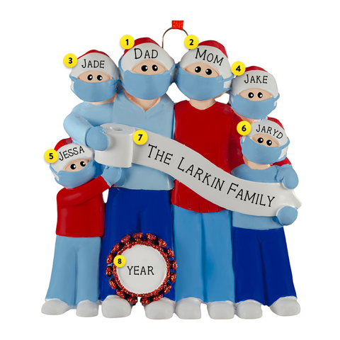 Family of 6 Wearing Masks with Toilet Paper and Coronavirus germ Christmas Ornament