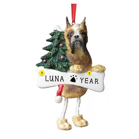 Cropped Boxer Dog Ornament for Christmas Tree