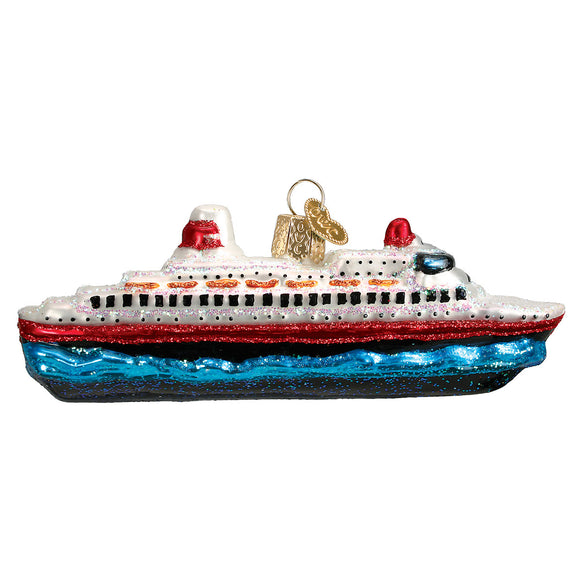 Glass Cruise Ship Ornament for Christmas Tree