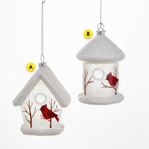 Birdhouse with Cardinal Ornament