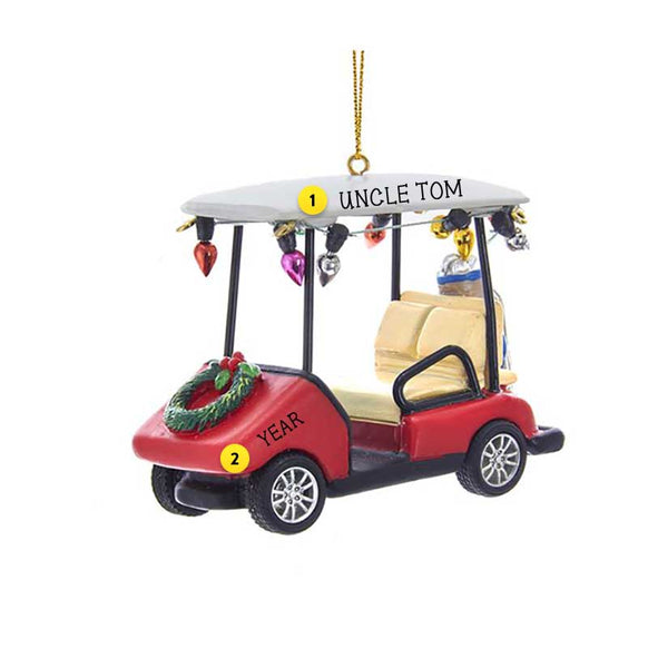 Golf Cart with Wreath Ornament