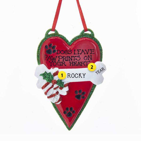 Dog Paw Prints on your Heart Ornament For Christmas Tree